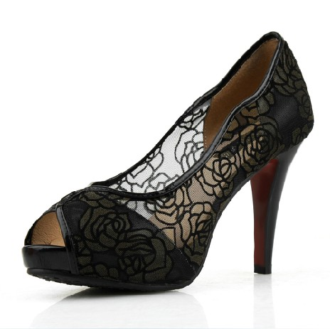 Lace sexy high heeled fish head shoes jazzbeer for Fish head shoes